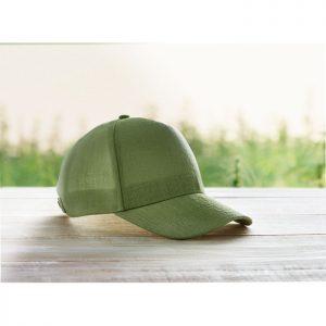 Eco-friendly hemp baseball caps in green